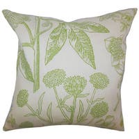 Neola Floral 24-inch  Feather Throw Pillow Green