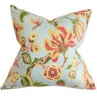 "Chaya Floral 24"" x 24""  Feather Throw Pillow Light Blue"