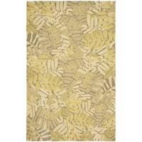 Martha Stewart by Safavieh Palm Leaf Oolong Tea / Beige / Yellow Wool Area Rug - 4' x 6'