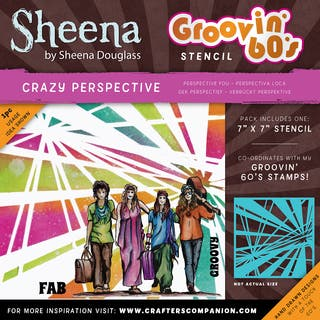 """Sheena Douglass Grooving 60s Stencil 7""""X7""""-Crazy Perspective