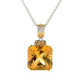 Michael Valitutti Palladium Silver Zambian Citrine & Orange Sapphire Pendant
