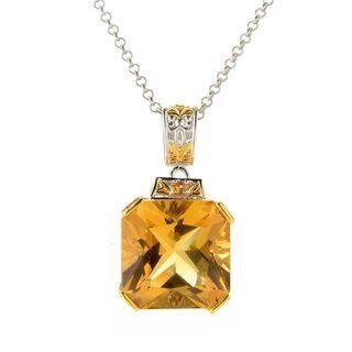 Michael Valitutti Palladium Silver Zambian Citrine & Orange Sapphire Pendant|https://ak1.ostkcdn.com/images/products/15613392/P22047355.jpg?impolicy=medium