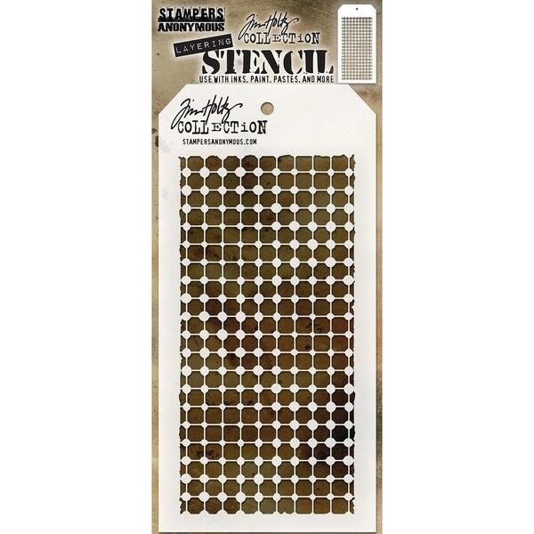 "Tim Holtz Layered Stencil 4.125""X8.5""-Grid Dot"