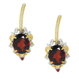 Michael Valitutti Palladium Silver Mozambique Garnet & Ruby Earrings