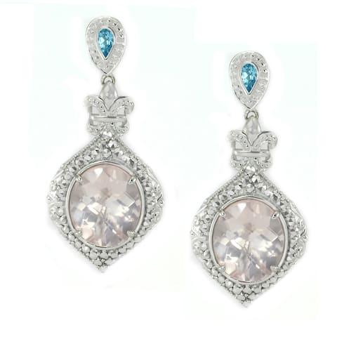 Dallas Prince Sterling Silver Rose Quartz, Swiss Blue Topaz & Marcasite Dangling Earrings