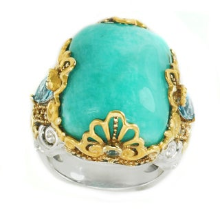 Michael Valitutti Palladium Silver Cushion Amazonite, Swiss Blue Topaz & White Sapphrie Ring - Size 7