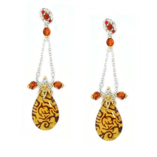 Michael Valitutti Palladium Silver Carved Amber & Orange Sapphire Intaglio Pear Shaped Drop Earrings
