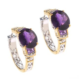 Michael Valitutti Palladium Silver Tanzanian & African Amethyst Hoop Earrings