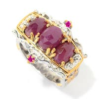 Michael Valitutti Palladium Silver Rose Cut Ruby & Pink Sapphire East-West Ring - Size 7