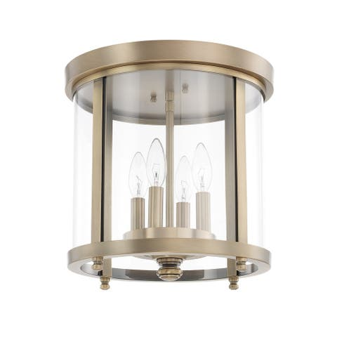4-light Aged Brass Flush Mount