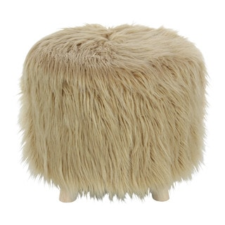 Benzara Exquisite Wood Faux Fur Foot Stool Ottoman