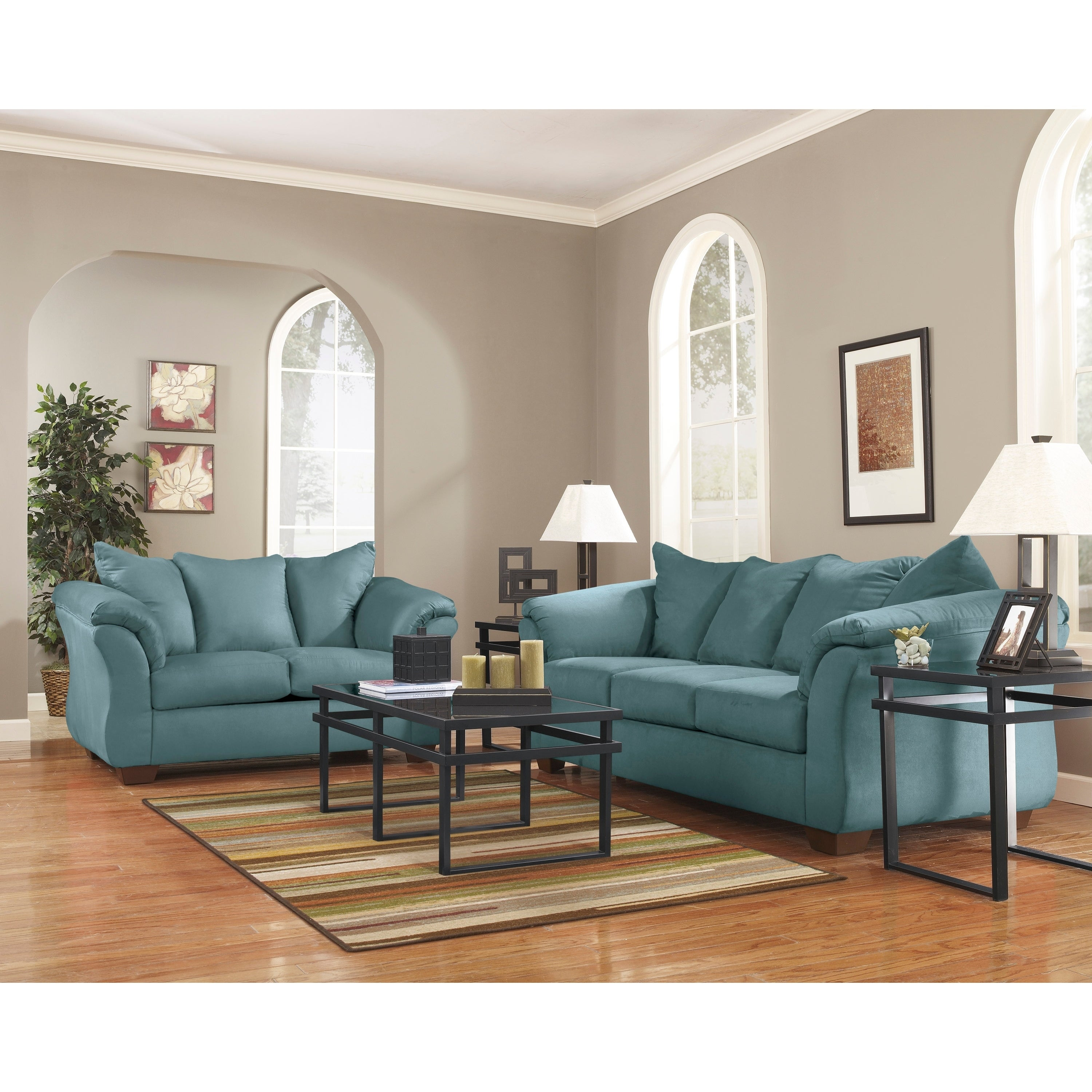 Ashley Living Room Sets.Signature Design By Ashley Darcy Living Room Set In Blue Fabric