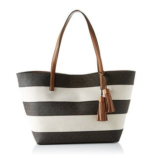 Michael Kors Stripe Canvas Brown Tote Bag