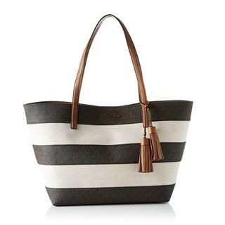 Michael Kors Stripe Canvas Brown Tote Bag