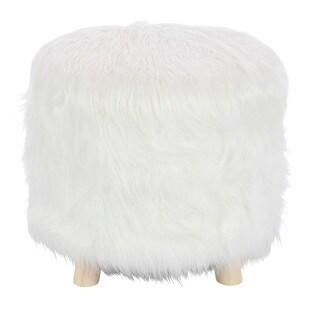 Benzara Enchanting White Finish Wood Faux Fur Foot Stool