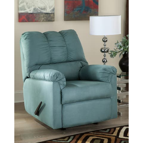 Signature Design by Ashley Darcy Rocker Recliner in Blue Fabric
