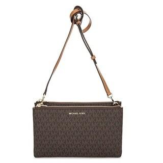 Michael Kors Adele Double-Zip Brown Crossbody Bag