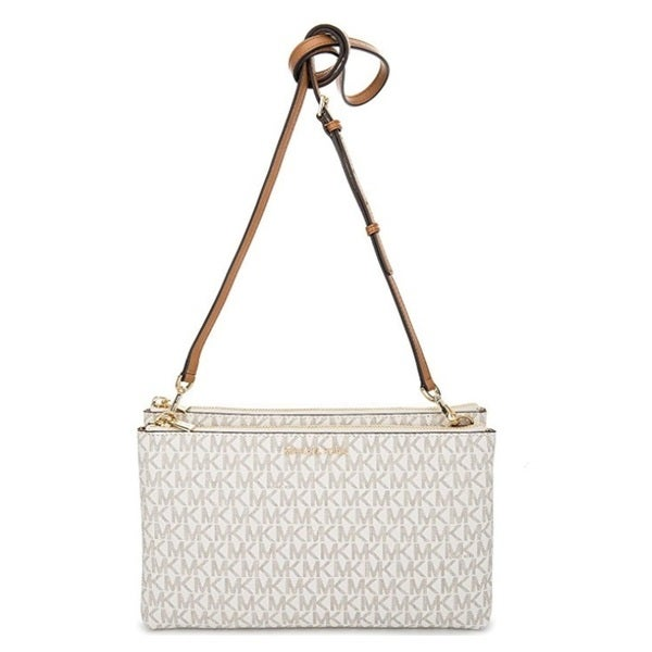 f7dd660e08b9 Shop Michael Kors Adele Double-Zip Vanilla Crossbody Bag - Free Shipping  Today - Overstock - 15613722