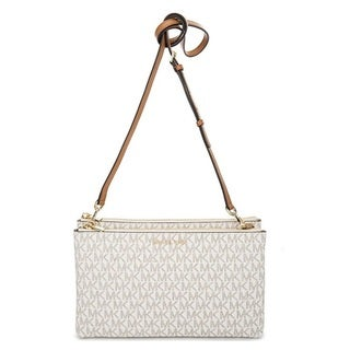 Michael Kors Adele Double-Zip Vanilla Crossbody Bag
