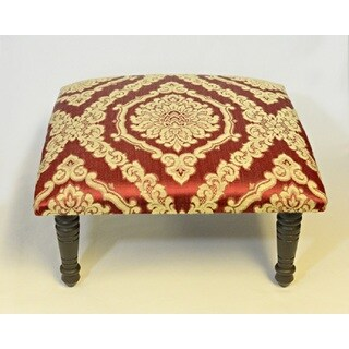 Corona Decor Rosette Medallion Design Red and Cream Footstool