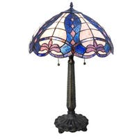 """24.25""""H Tiffany Style Stained Glass Fleur de Calais Table Lamp - Blue/Pink/White"""