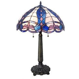 "24.25""H Tiffany Style Stained Glass Fleur de Calais Table Lamp - Blue/Pink/White"