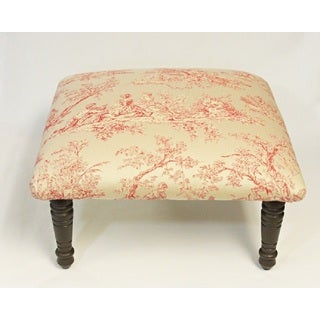 Corona Decor Toile Pastoral Design Red and Cream Footstool