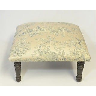 Corona Decor Toile Pastoral Design Ivory and Blue Footstool