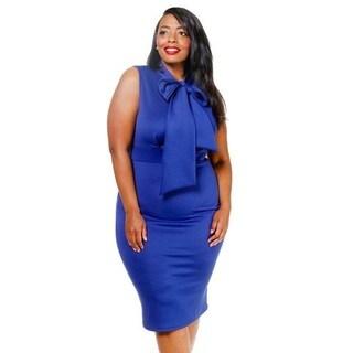 Plus-Size Women's Midi Dress with Oversized Bowtie Neckline