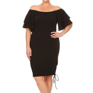 Women's Plus-Size Bell Sleeve Midi Dress with Side Lace-up Detail