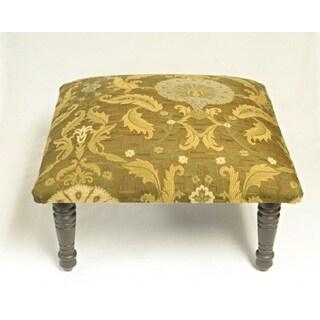 Corona Decor Peacock Design Gold and Brown Footstool