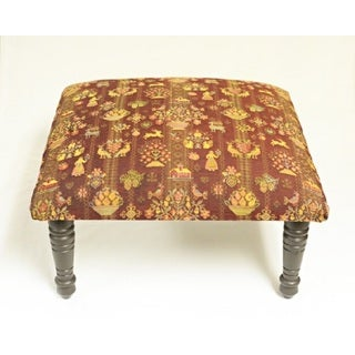 Corona Decor Americana Pastoral Design Red and Gold Footstool