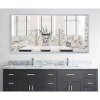 American Made Rayne Foxtrot Satin Silver Wide Wall Mirror