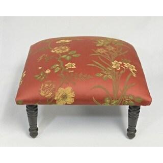 Corona Decor Blossom Glory Flora Design Red/Gold/Green Footstool