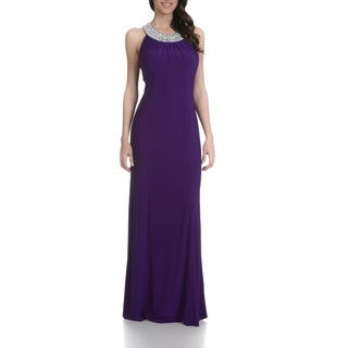 Cachet Rhinestone Embellished Neckline Purple Evening Gown
