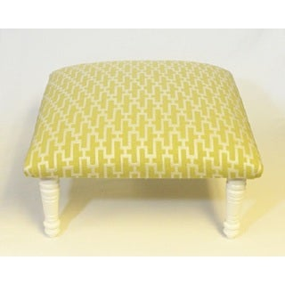 Corona Decor Zig Zag Geometric Design Citrus and White Footstool