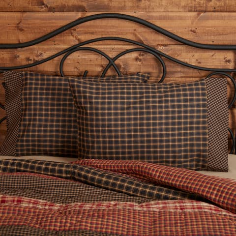 Black Rustic Bedding VHC Beckham Pillow Case Set of 2 Cotton Check