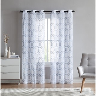 VCNY Home Empire Embroidered Sheer Grommet Top Curtain Panel Pair