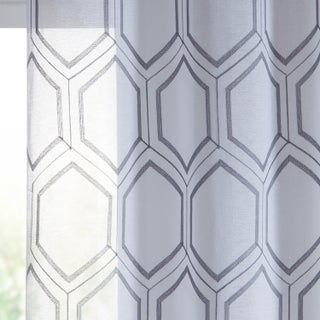 VCNY Home Empire Embroidered Sheer Grommet Top Curtain Panel Pair (More options available)