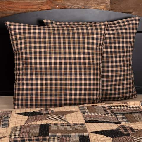 Black Americana Bedding VHC Bingham Star Euro Sham Cotton Plaid