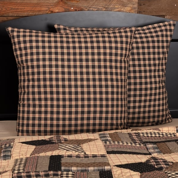 Black Americana Bedding VHC Bingham Star Euro Sham Cotton Plaid