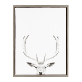DesignOvation Sylvie Deer with Antlers Black and White Portrait Grey Framed Canvas Wall Art by Simon