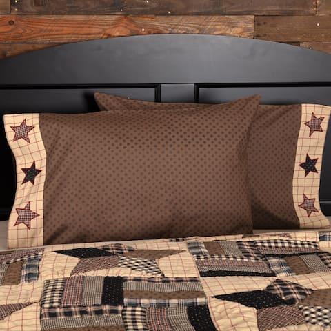 Brown Americana Bedding VHC Bingham Star Pillow Case Set of 2 Cotton Star Appliqued