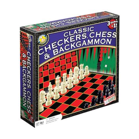 Classic Checkers, Chess & Backgammon - Red