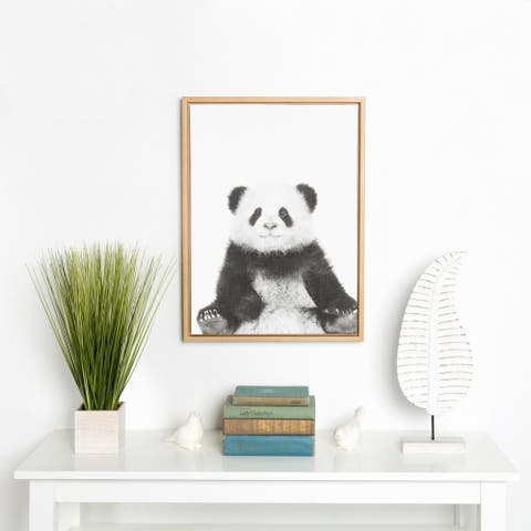 Kate and Laurel Sylvie Panda Animal Print Black and White Portrait Framed Canvas Wall Art by Simon Te Tai, 18x24 Natural