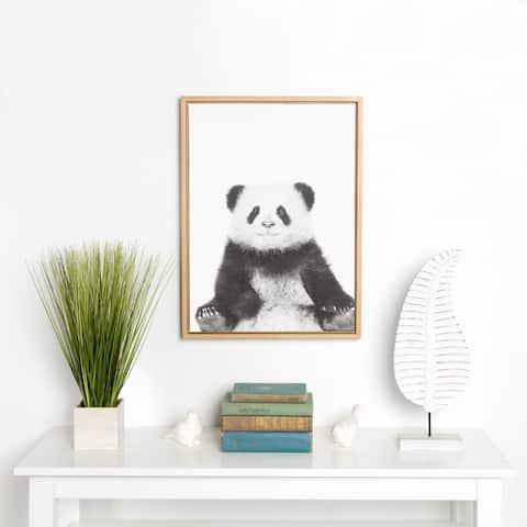 DesignOvation Sylvie Sitting Panda Black and White Portrait Natural Framed Canvas Wall Art by Simon Te Tai