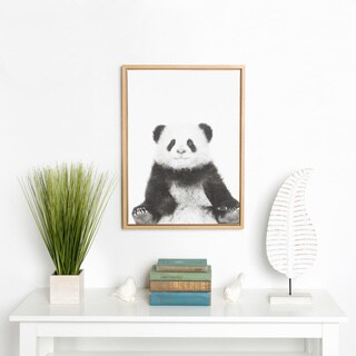 DesignOvation Sylvie Sitting Panda Black and White Portrait Natural Framed Canvas Wall Art by Simon Te Tai