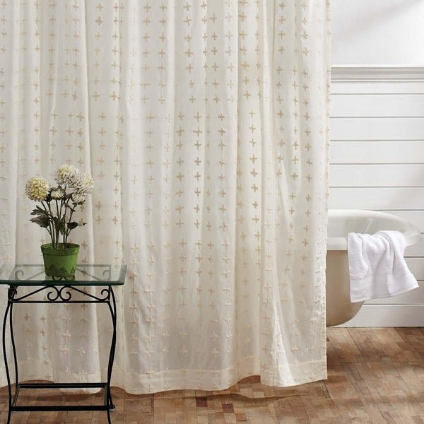 Willow White Cotton Hand Embroidered Shower Curtain