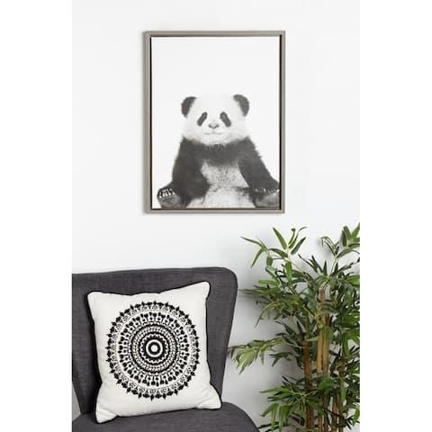 Kate and Laurel Sylvie Panda Framed Canvas by Simon Te Tai