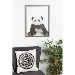 DesignOvation Sylvie Sitting Panda Black and White Portrait Grey Framed Canvas Wall Art by Simon Te (18x24)( As Is )